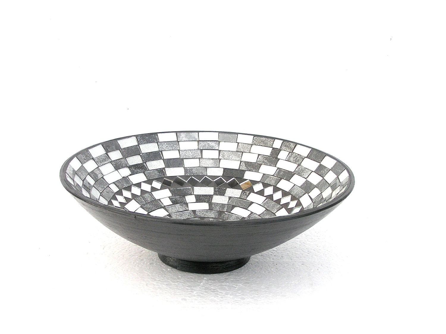Black and white fruit bowl mosaic modern home decor classical for Mosaic home decor