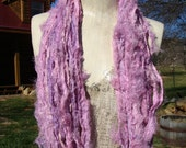 NEW Oh Baby Baby Baby Pinky Mauve Soft And Textured Fuzzy Sari Ribbon  100 Gram Skein Last Picture Is My Christmas Dog Bandit