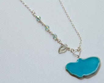 Gingko Leaf Necklace in Turquoise with AB Blue/Green crystals.