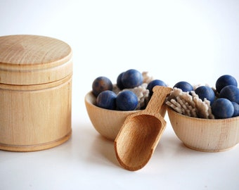 Natural Wood Pretend Play Food - BERRIES  n OATMEAL- Waldorf Inspired Wooden Kids Toy