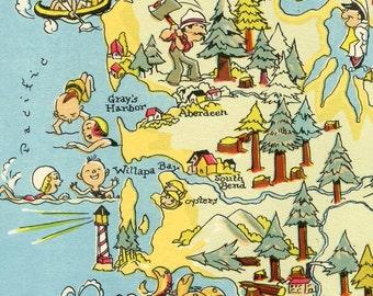 Washington Map ORIGINAL 9 x 13 Vintage 1930s Antique Picture Map of Washington - Ruth Taylor White - Olympa Seattle Spokane Tacoma Souvenir