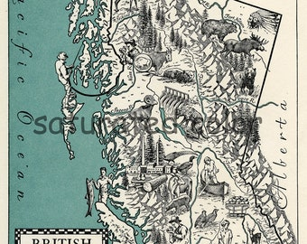 British Columbia Canada Map Art - High Res DIGITAL IMAGE - 1940s Vintage Picture Map - Instant Art - Teal Turquoise Cream - Charming & Fun