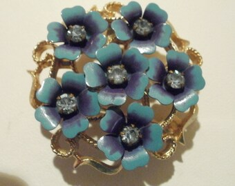 "Vintage brooch/pendant ""Avon"" brooch, blue brooch, floral brooch,vintage jewelry"