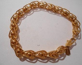 Vintage bracelet, Monet bracelet, signed bracelet, gold tone bracelet, 7 inch bracelet