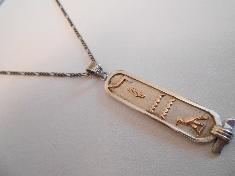vintage pendant cartouche pendant sterling by
