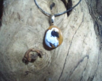 handpainted sea pebble necklace