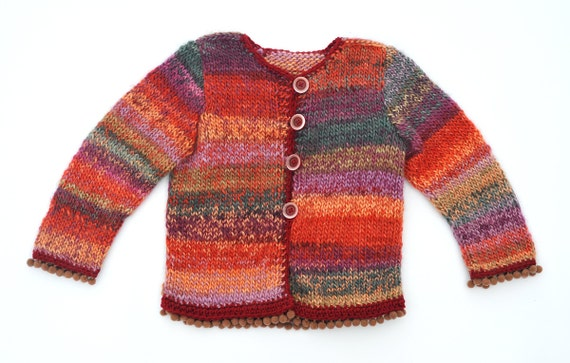 Girls jacket knitted cardigan - red pink orange green brown with beige bobble pompom trim wool winter warm, soft knitting size -  3 T