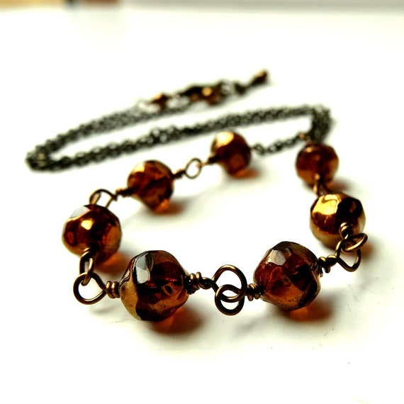 RESERVED FOR JENNIFER Brown Necklace Bronze Honey Brown Faceted Glass Wire Wrapped Brass