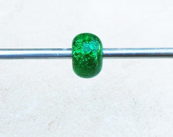 Green Dichroic Lampwork Bead for European Charm Bracelet