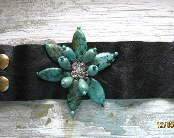 Genuine Turquoise Gemstone Blossom Black Leather Cuff bracelet handmade one of a kind fits 6 6.7 inch wrist Swarovski Clear Crystal center
