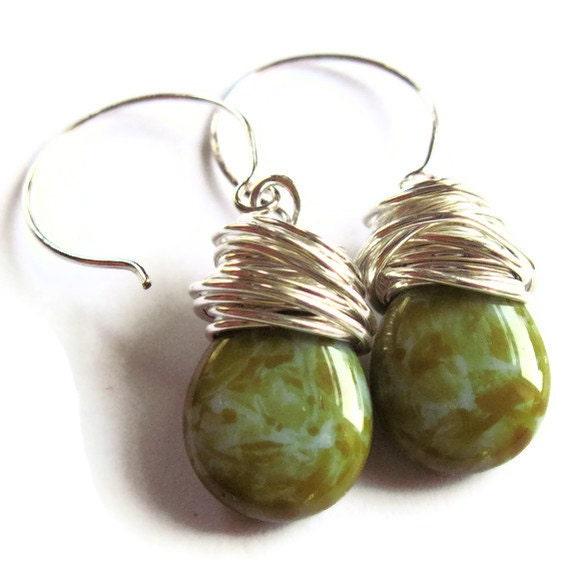 Wire Wrap Earrings Olive Mustard Glass Fashion Jewelry