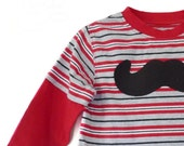 Mustache Tshirt Boys 24m 2t Long Sleeve Layered Hipster by TrashN2Tees
