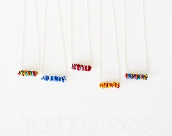 Personalized Necklace Custom Color Recycled Tshirts Horizontal Bar Sterling Silver Jewelry by TrashN2Tees