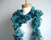 Frill Scarf Blue Navy and Green ,Gift For MOM  Gift for Her, Under 20