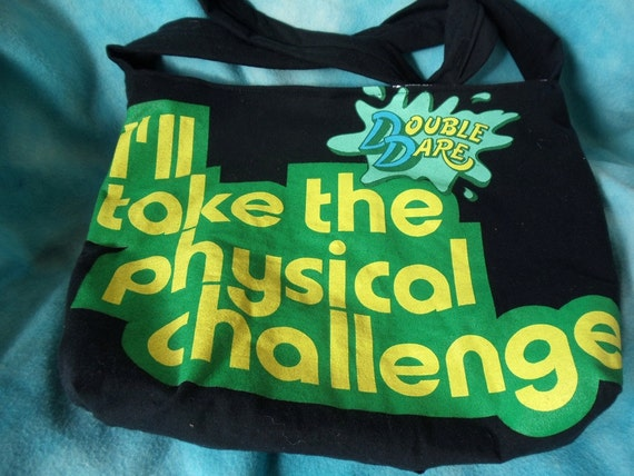 Double Dare tote bag purse upcycled 1990s style recycled tshirt 'physical challenge'