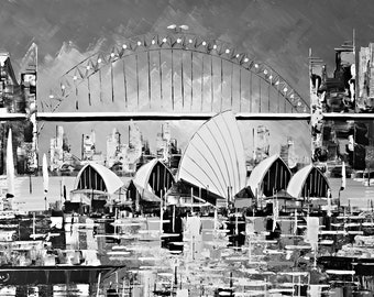Black & White Sydney Opera house -Original Painting Acrylic on Canvas - Wall Art - Home decor - Etsy au - Black and White - Elegant art