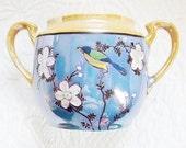 Lusterware Open Sugar Bowl Blue Peach Bird And Blossoms Vintage Japan - jarmfarm