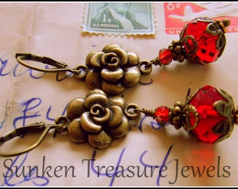 The Laura Earrings,Vintage Style Red Rose & Antiqued Brass Earrings, Romantic Red Roses