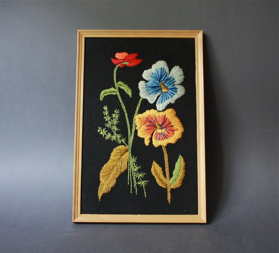 Vintage Handmade Framed Embroidered Botanical Wall Hanging