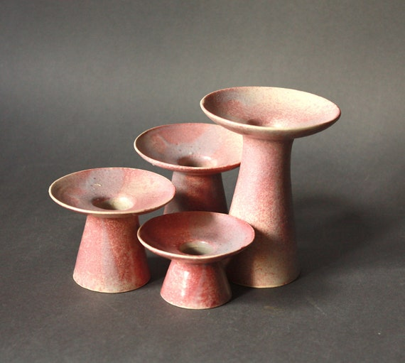 Vintage STUDIO Pottery Set of Four Porcelain Candle Holders