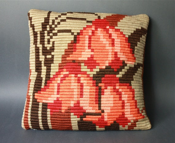 Vintage Bargello Pillow Cover Red