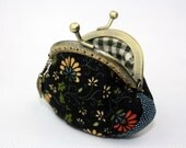 Coin Purse - Midnight Bloom Cotton Fabric with Metal Frame