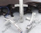 5pcs of 28x50mm silver tone Sideways Cross Rhinestone Connector,Cross Bracelet Connector,bangle findings