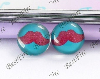 4pcs of the 12mm Round Glass Cabochons mustache, jewelry Cabochons finding beads,Glass Cabochons,moustache or whiskers--07