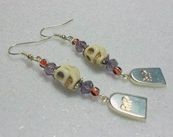 Halloween Earrings Skull and Headstone Earrings R.I.P. Earrings