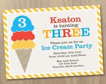 Girl or Boy Ice Cream Cone Ice Cream Party Birthday Invitation - Printable Digital File