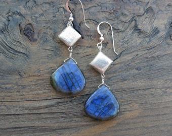 Labradorite earrings, handmade labradorite, unique labradorite