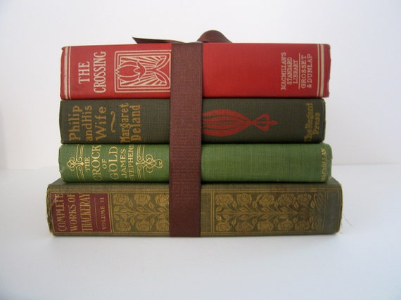 Vintage and Antique Red Green Gold Books Bundle Collection Book Home Decor