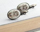 Grey Rose Earrings Flower Cameo Earrings Neutral Tones Winter Rose Grey and Cream Vintage Style Small Drop Earrings Lever Back Earrings