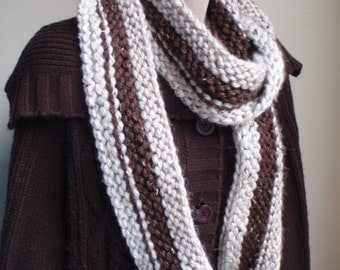 Tweed Cowl with a Racing Stripe Brown Wheat
