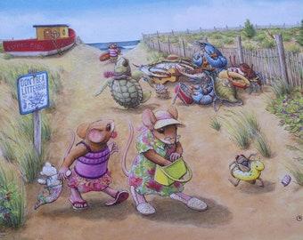 Signed Print, Beach Scene