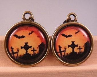 Halloween Jewelry Halloween Earrings  Brass Jewelry Holiday Jewelry Bat Jewelry Bat Earrings Brass Earrings Orange Earrings Black Jewelry