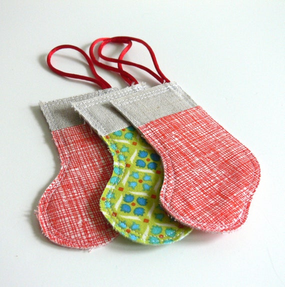 Ornaments, Set of 3 -- Christmas Stocking -- Red, Green and Linen -- Ready to Ship