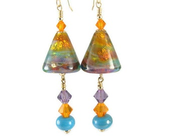 Glass Bead Earrings, Unique Earrings,14K Gold Filled Earrings, Turquoise Beadwork Earrings, Colorful Lampwork Earrings, Lampwork Jewelry