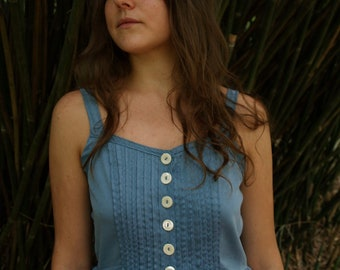 Hand dyed organic cotton sun dress with pintucks, pockets and eyelet lace petticoat- custom made to your measurements
