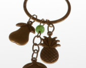 "Brass Charm Necklace, ""Fruity Rebels"""