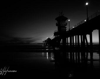 Night at The Pier - Sunset on a California Beach BW Photo of the Huntington Beach Pier, Wall Art, Beach Decor, Black & White Photo,