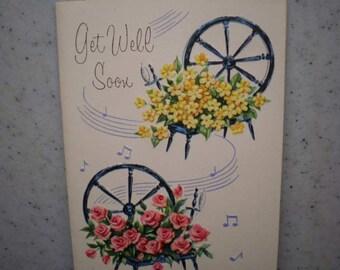 Vintage Unused Mid Century Greeting Card - Get Well Soon