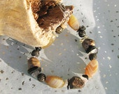 Men's Butterscotch Brown Agate Natural Stone Brass chunky masculine Father's Day Bracelet