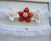 White and Burnt Orange Wedding Garter Set    -Decorated with Silk  and Taffeta   Daffodil