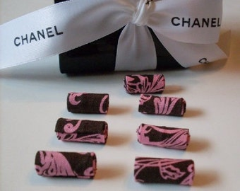 7 Couture Designer Salmon & Chocolate Textile Damask Beads  LJO Collection Jewelry