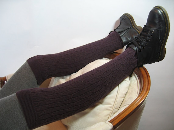 Merino Wool Cable Thigh High Over the Knee Socks Leg Warmer  Plum Purple Knit Boot Sock 570