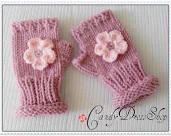 Children's flowered pink mittens (Light Pink), Fingerless Pink mittens for girls, Girls pink wrist warmers, Girls pink mittens, Pink mittens