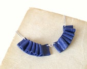 Small frilly collar bib necklace Two Blue navy blue polymer clay frills shabby chic nautical fashion necklace one-of-a-kind