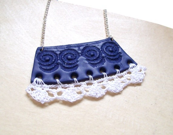 """RESERVED Crochet clay bib necklace navy blue white fashion necklace nautical lace crochet frill polymer clay necklace """"The Collar Blue"""""""