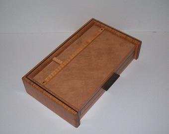 Men's Jewelry Box Valet or Dresser Box Fancy Maple